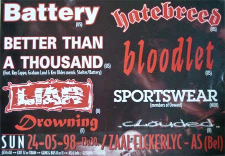 battery,hatebreed,bloodlet,liar,drowning,better than a thousand,sportswear,clouded