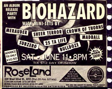 subzero,bulldoze,25 ta life,madball,sheer terror,biohazard,crown of thorns,merauder