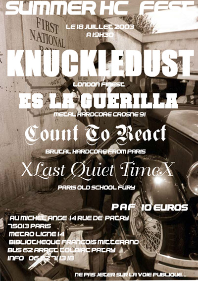 count to react,knuckledust,es la guerrila,last quiet time