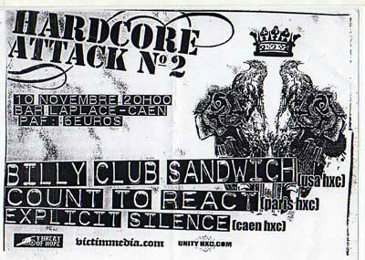 count to react,explicit silence,billy club sandwich