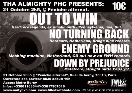 out to win,no turning back,enemy ground,down by prejudice