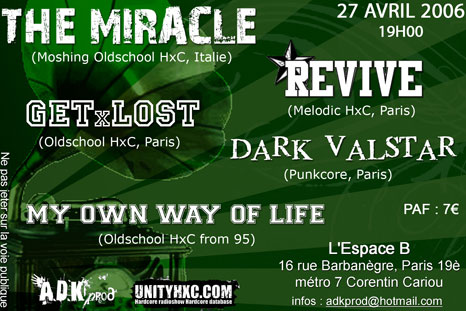 the miracle,get lost,revive,my own way of life