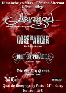 arkangel,down by prejudice,core of anger,die by my hands