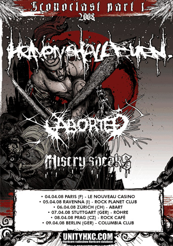 heaven shall burn,aborted,misery speaks