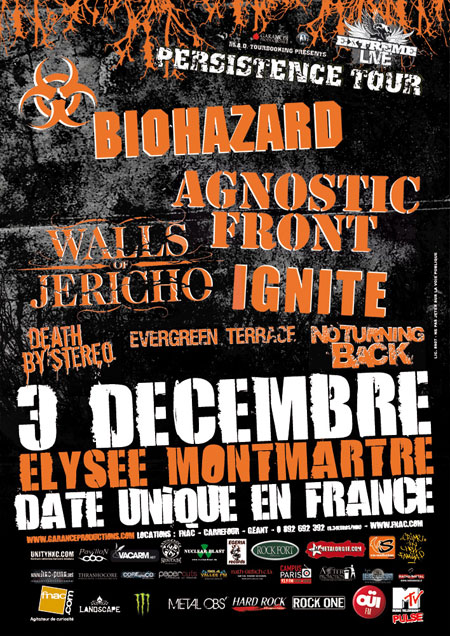 agnostic front,biohazard,walls of jericho,ignite,death by stereo,evergreen terrace,no turning back
