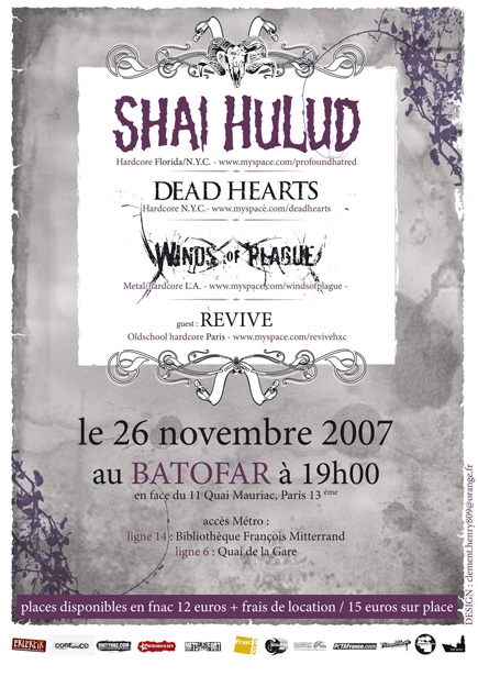 shai hulud, dead hearts, winds of plague,revive